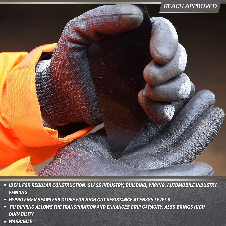 Vgo 2Pares Guantes Nivel 5 EN388 Resistentes al Corte Prevecion de Corte Gris, Talla 10//XL, SK2131
