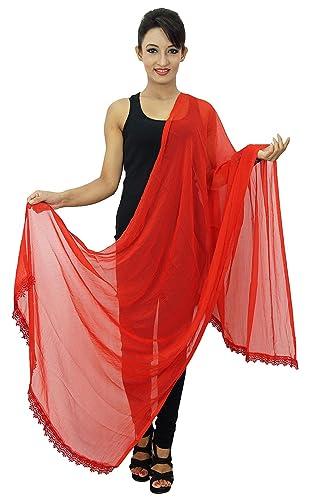 Gasa Dupatta largo de la estola del cuello del abrigo de las mujeres de la India bufandas Chunni
