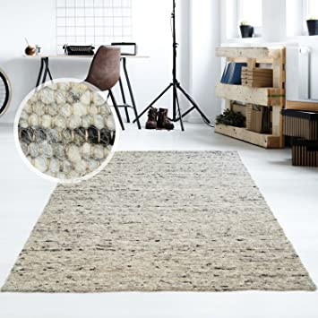 Moderner Handweb Teppich Alpina handgewebt aus Schurwolle für Wohnzimmer,  Esszimmer, Schlafzimmer und die Küche geeignet (Muster, 30 Grau meliert)