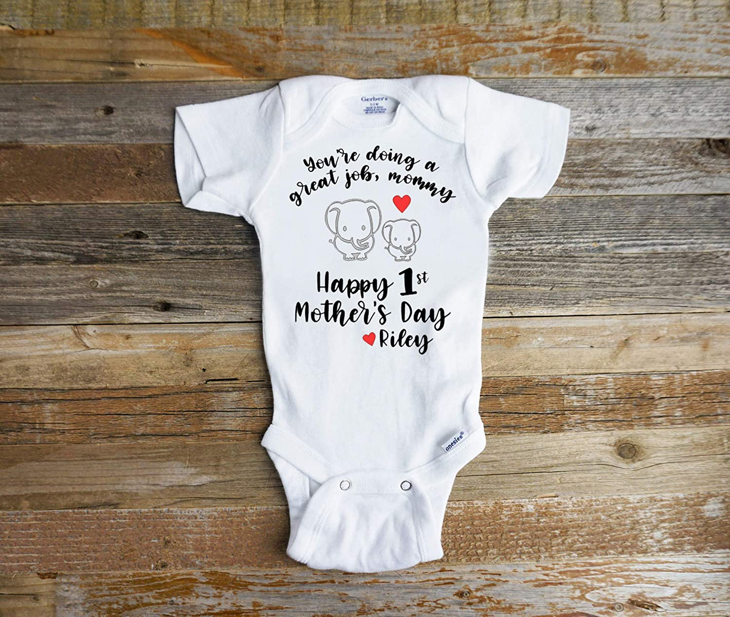 Amazon Com You Re Doing A Great Job Mommy Happy First Mother S Day Best Mom Onesie Personalized Elephant Shirt Handmade