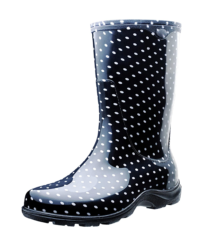 Polka Dots Blk Wht Sloggers 5018SSBL08 Spring Surprise Waterproof Boot, 8, bluee