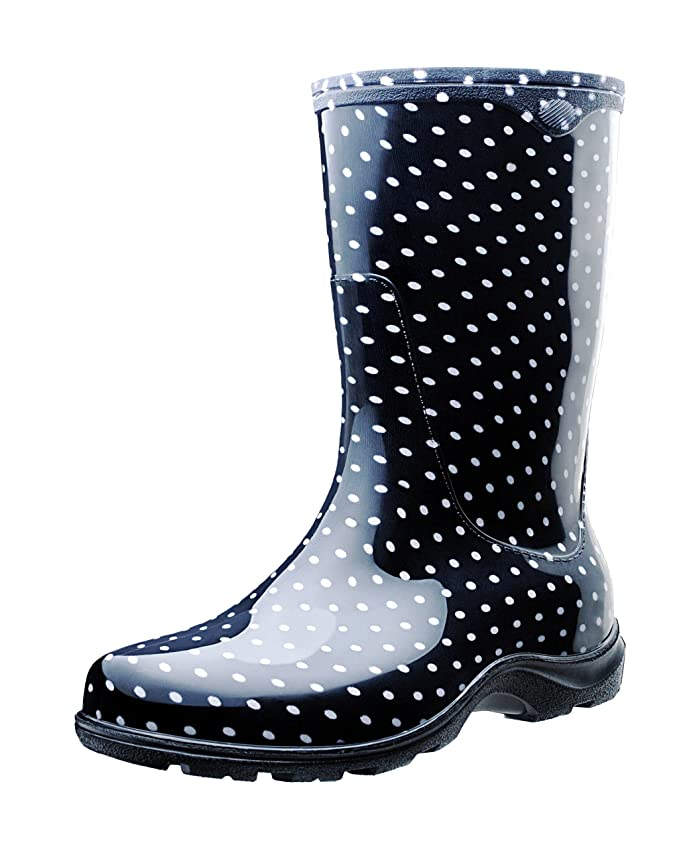 Sloggers Women's Waterproof Rain and Garden Boot with Comfort Insole, Black/White Polka Dot, Size 8, Style 5013BP08 best women's rainboots
