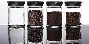 Mini Glass Jars with Black Lids 4 pcs Food Storage Jar Kitchen Canister Small Coffee Tea Spice Storage Jar Set(4 Ounce) Gift