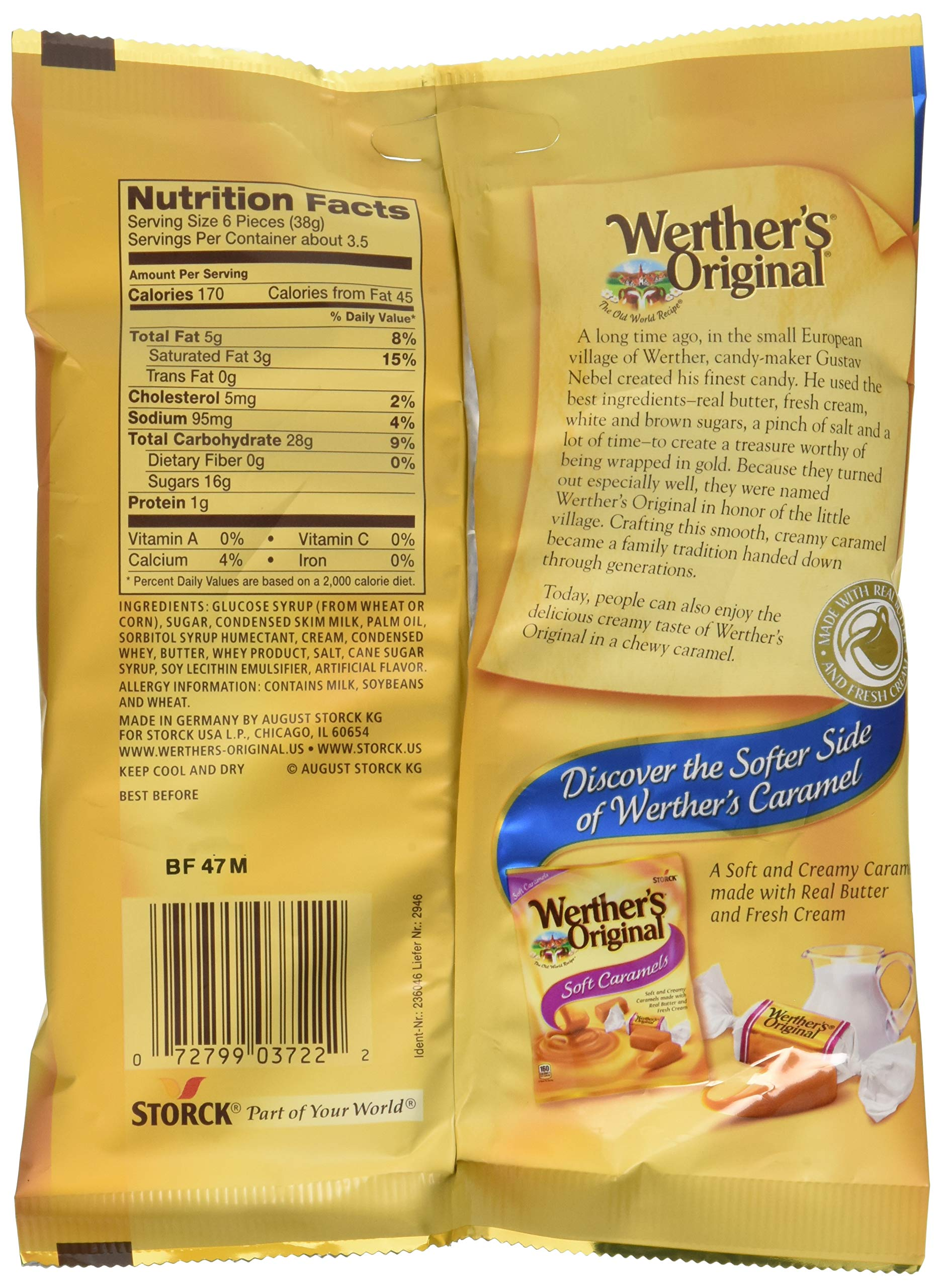 WERTHER'S ORIGINAL Chewy Caramels, 5.0 Ounce Bags (Pack of 12), Bulk Candy, Individually Wrapped Candy Caramels, Caramel Candy Sweets, Bag of Candy by Werther's (Image #4)