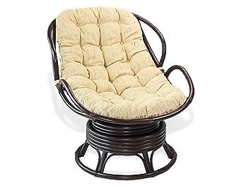 Superieur Lounge Swivel Rocking Papasan Chelsea Chair Natural Rattan Wicker Handmade  Design ECO With Cream Cushions,