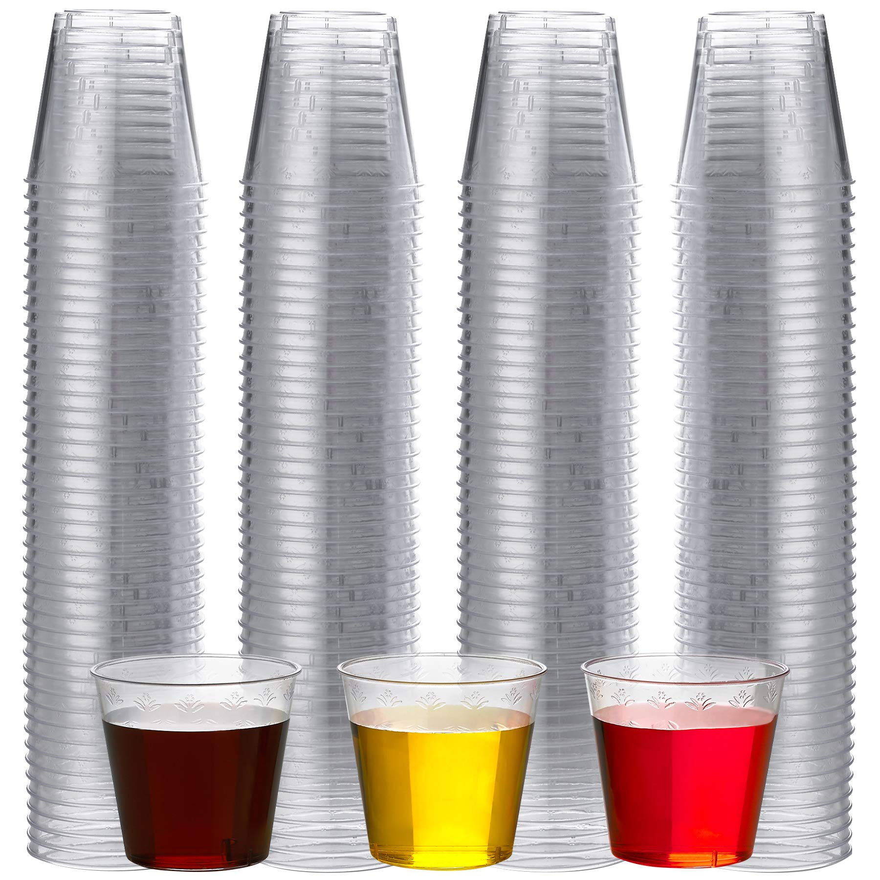 200 Hard Plastic 1 Oz Shot Cups - Disposable Clear Shot Glasses In Bulk, Premium Quality, For Jello Shots, Tasting, Mini Desserts, Weddings, Dinners, And Party's by Bedwina