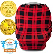 Nursing Cover, Car Seat Canopy, Shopping Cart, High Chair, Stroller and Carseat Covers for Boys and Girls- Best Stretchy Infinity Scarf and Shawl- Multi Use Breastfeeding Cover Up- Plaid Pattern
