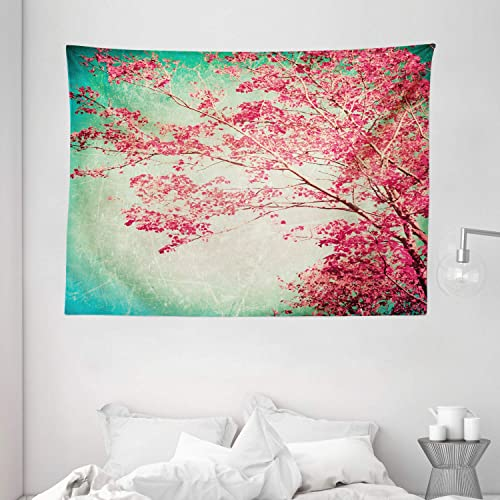 Ambesonne Vintage Tapestry, Fall Foliage Pink Florets on Tree Branches Aged Grungy Nature Display, Wide Wall Hanging for Bedroom Living Room Dorm, 80 X 60 , Pink Mint Green