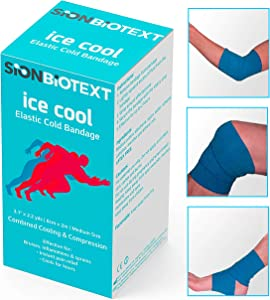 3 Cohesive Bandage with Cooling Effect, Self Adherent Wrap Medical Tape, Adhesive Flexible Breathable First Aid Gauze Ideal for Ankle Sprains, Swelling, Stretch Athletic, Sports Injuries
