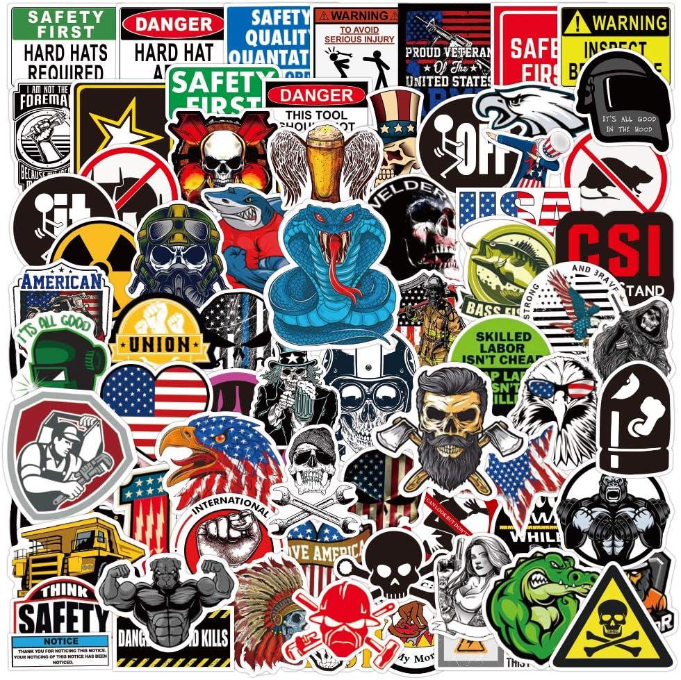 100pcs Funny Vinyl Tool Box Helmet Sticker for Men Construction Welding Union Military Ironworker Lineman Oilfield Electrician Pipeliner Teens Hard Hat Stickers
