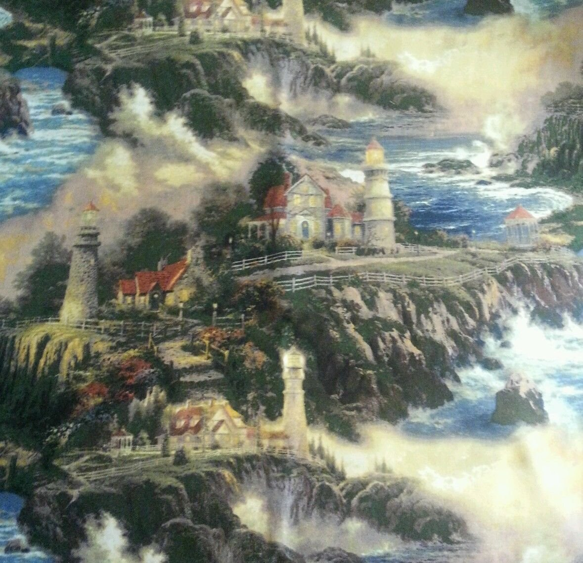 1 Yard - Serenity Cove Lighthouse by the Ocean Seaside Cliffs Cotton Fabric - by Thomas Kinkade (Great for Quilting, Sewing, Craft Projects, Throw Pillows & More) 1 Yard X 44 David Textiles