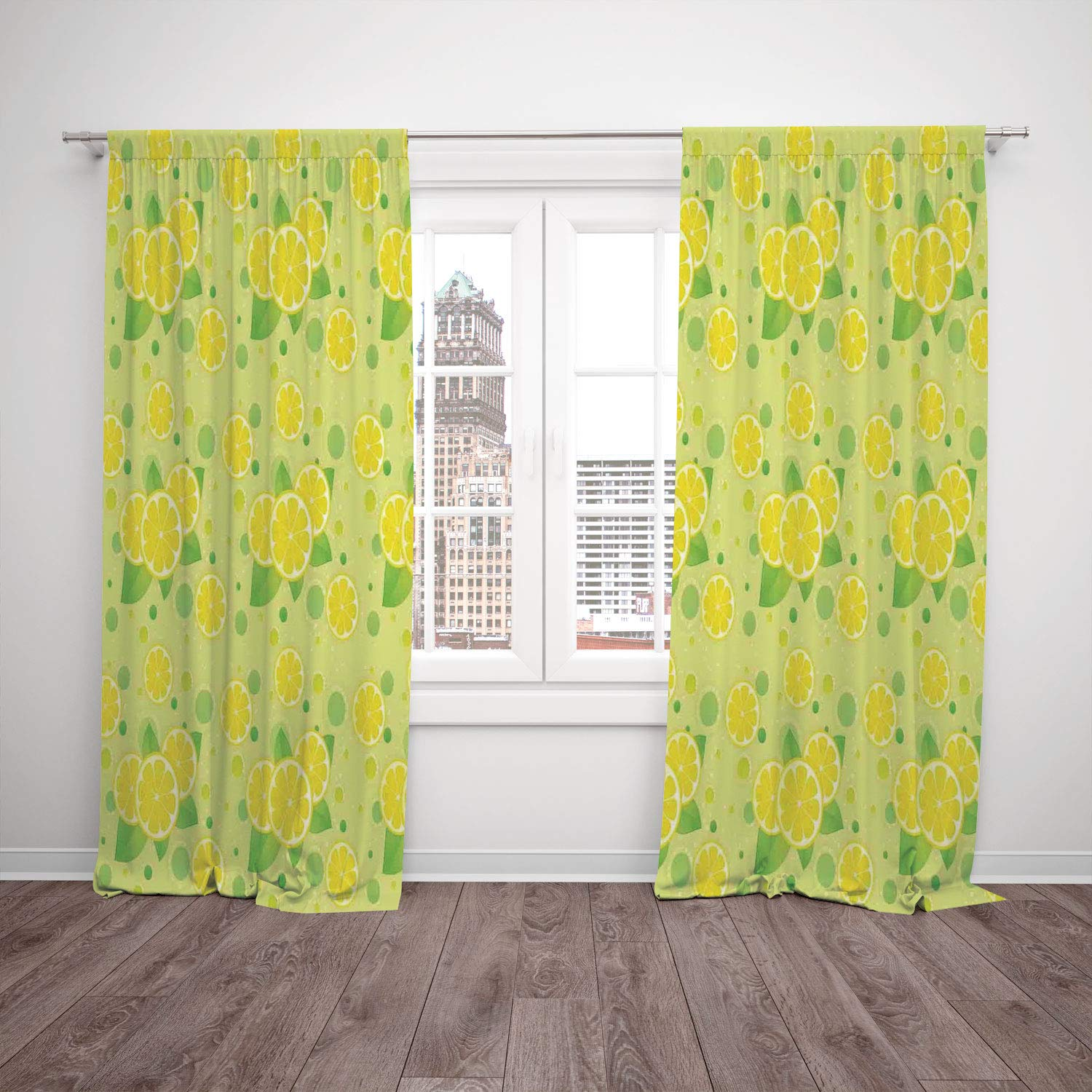 2 Panel Set Thermal Insulated Blackout Window Curtain,Kitchen Decor Lemon and Lime Pattern Retro Vintage Style Citrus Fruit Circles Natural Image Yellow Green,for Bedroom Living Room Dorm Kitchen Cafe