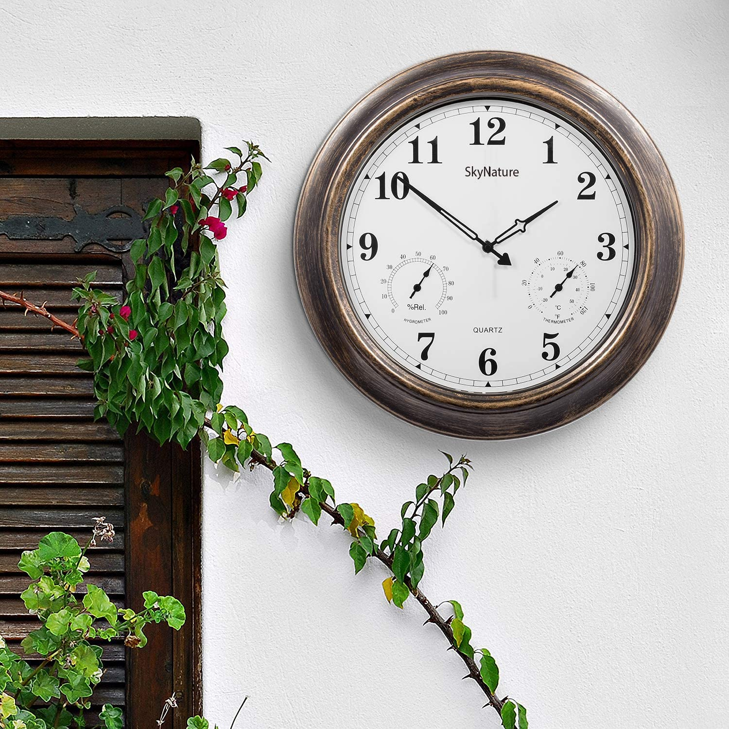 Bronze 18 Inch Large Outdoor Clocks With Thermometer Hygrometer Combo Patio Silent Battery Operated Metal Wall Clock For Living Room Garden Pool Decor Waterproof Outdoor Clock Patio Lawn Garden Outdoor