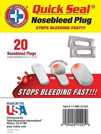 Be Smart Get Prepared Quick Seal Nosebleed Plugs. Stops Bleeding Fast,  Non-Stick