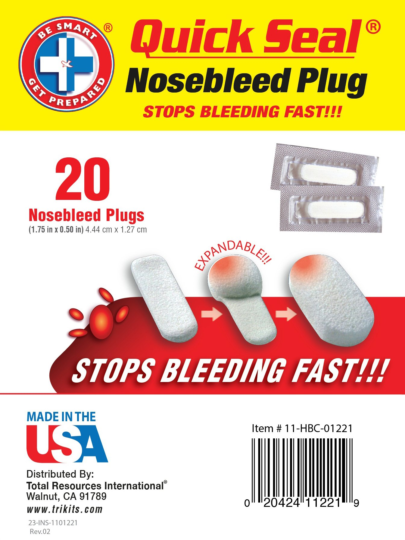 Be Smart Get Prepared Quick Seal Nosebleed Plugs. Stops Bleeding Fast, Non-Stick and Easy to Remove. (20 Plugs Included).