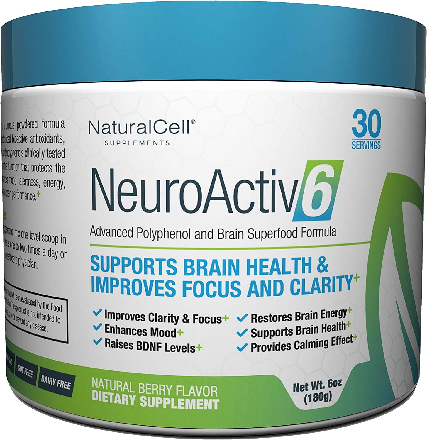 NeuroActiv6 - Nootropic Superfood Supplement - Improve Memory, Boost Focus, Enhance Clarity, Support Mood. Caffeine-Free Cognitive Brain Energy with Citicoline, Coffee Fruit Extract & Ashwagandha