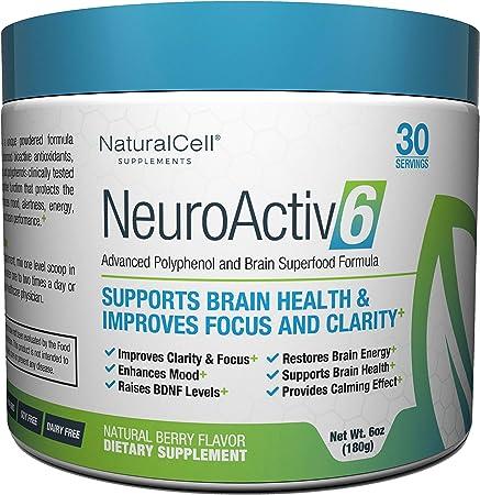 NeuroActiv6 - Caffeine-Free Brain Enhancing Superfood Powder   Raise BDNF Levels, Eliminate Brain Fog, Improve Memory, Boost Focus & Support Mood with Coffee Fruit Extract, Ashwagandha, & Citicoline