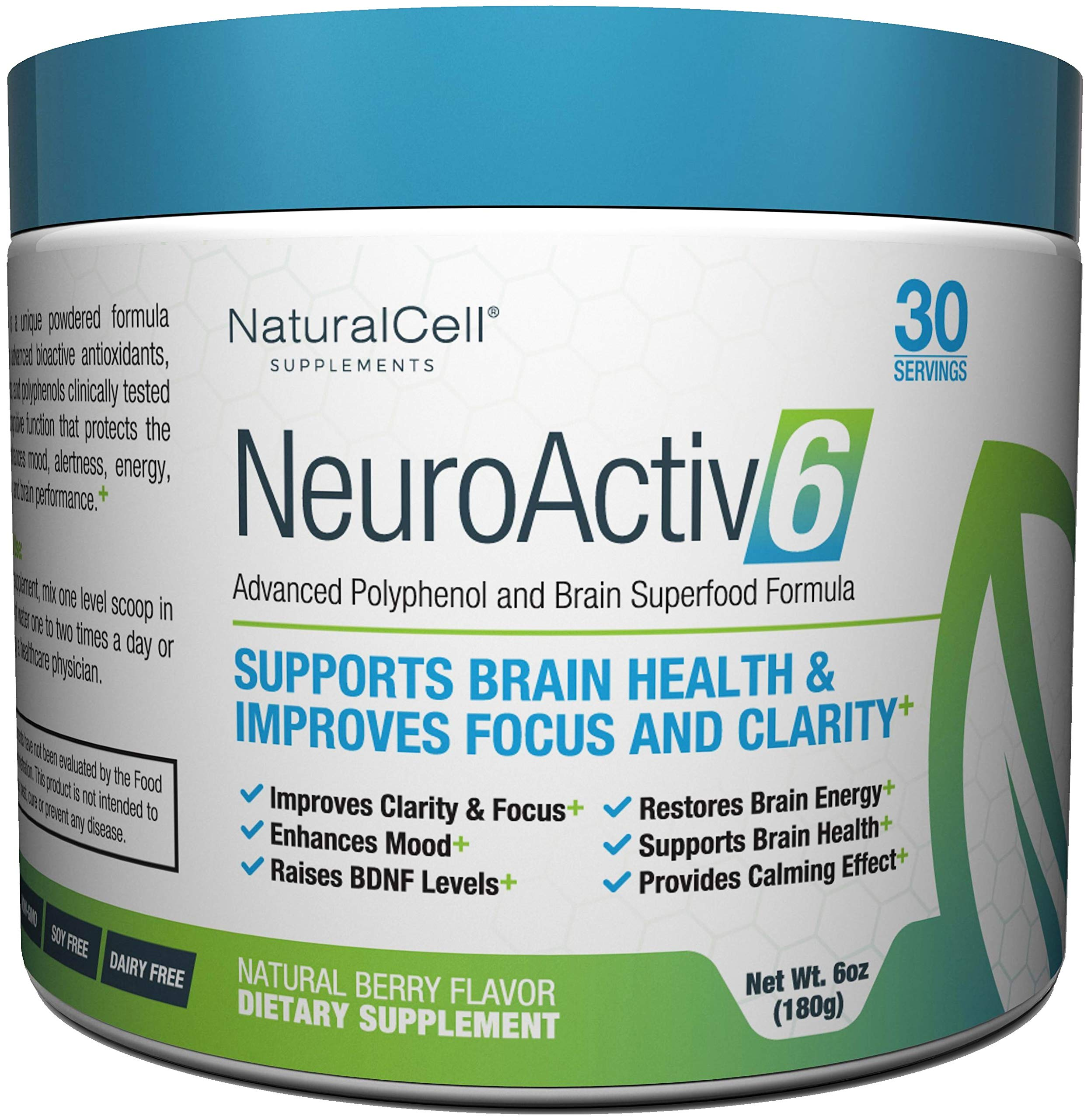 NeuroActiv6 - Nootropic Superfood Supplement - Improve Memory, Boost Focus, Enhance Clarity, Support Mood. Caffeine-Free Cognitive Brain Energy with Citicoline, Coffee Fruit Extract & Ashwagandha by NaturalCell