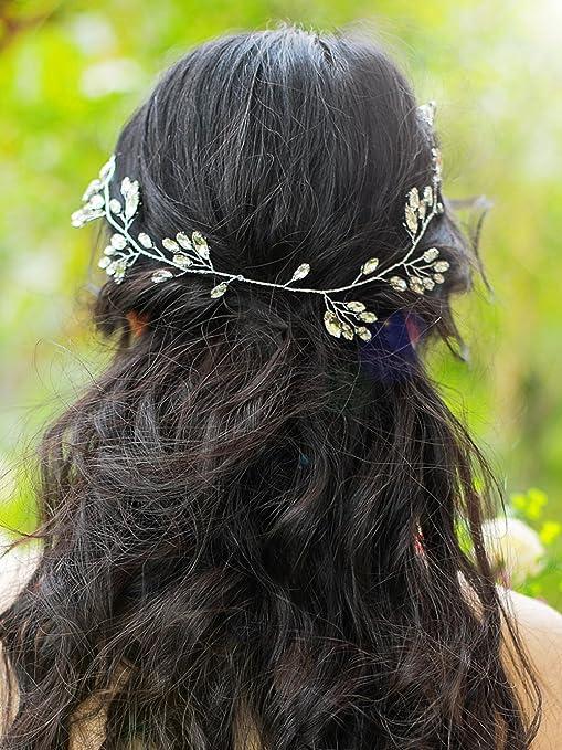 Handmadejewelrylady da sposa cristallo STRASS fascia per capelli Vine  copricapo donne sera party accessori per capelli daedb7f02ad7