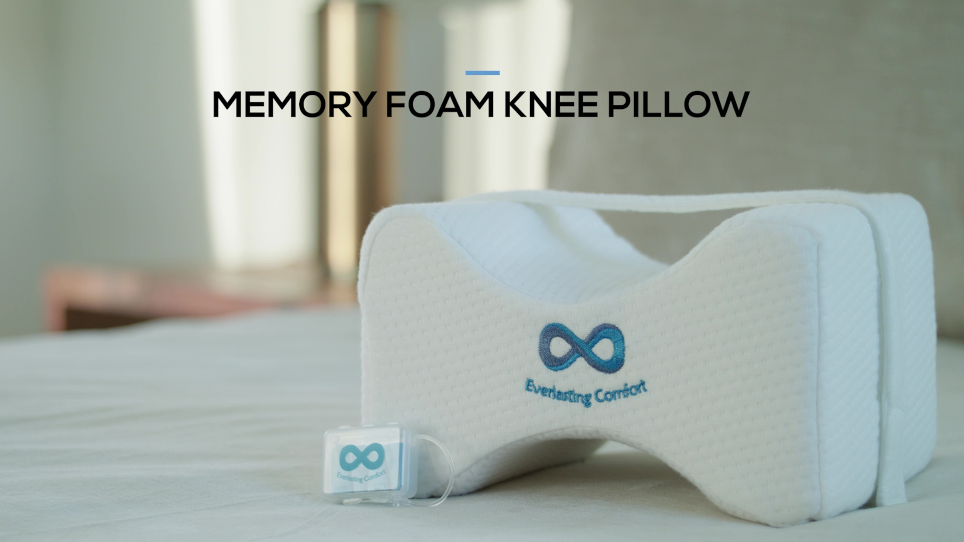 Everlasting Comfort 100% Pure Memory Foam Knee Pillow with Adjustable & Removable Strap and Ear Plugs - Leg Pillow for Sleeping (Lifetime Warranty)