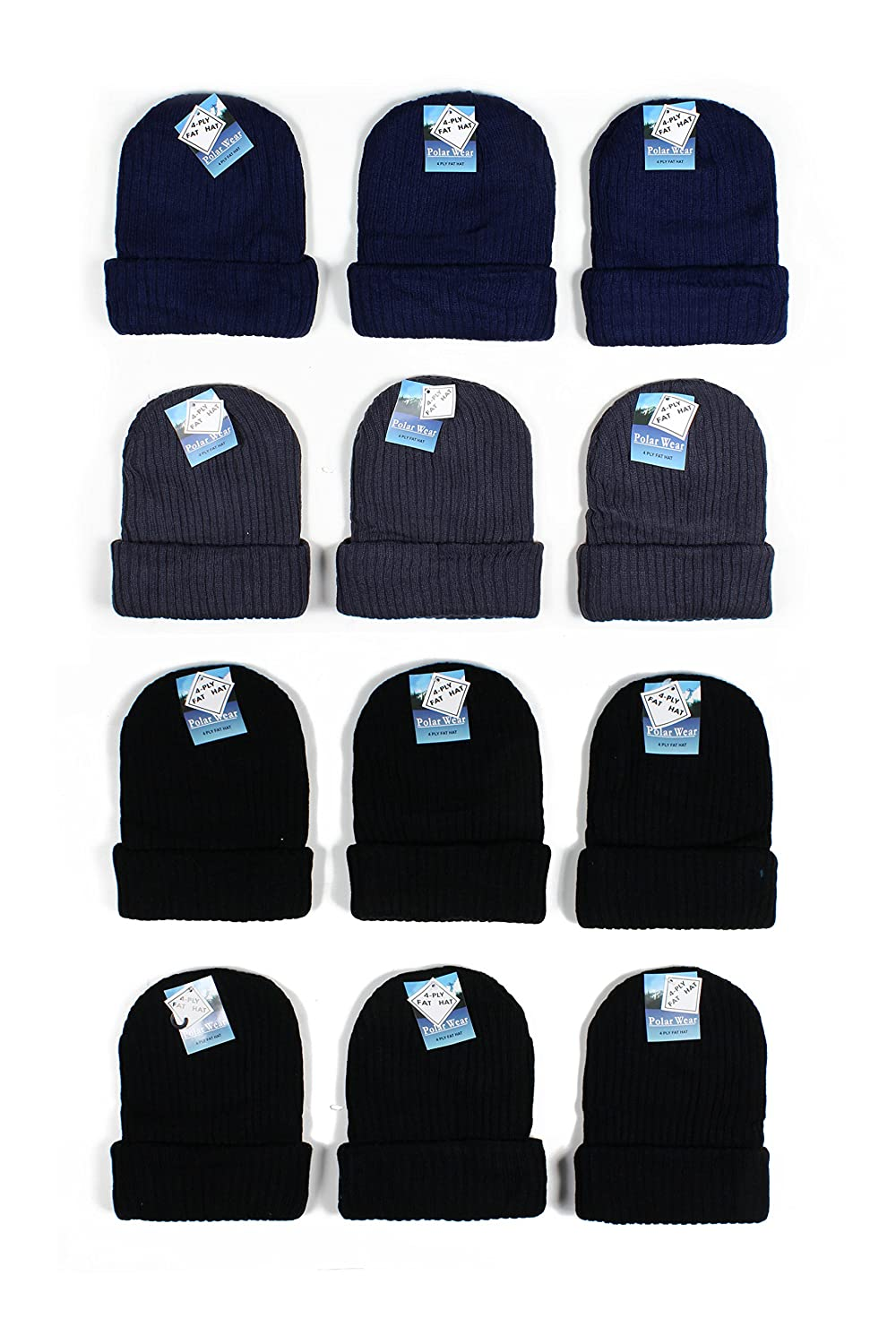 See More Colors Designs Polar Wear Kids Boys 12Pack Cuffed Knit Winter Beanie Hats One Size