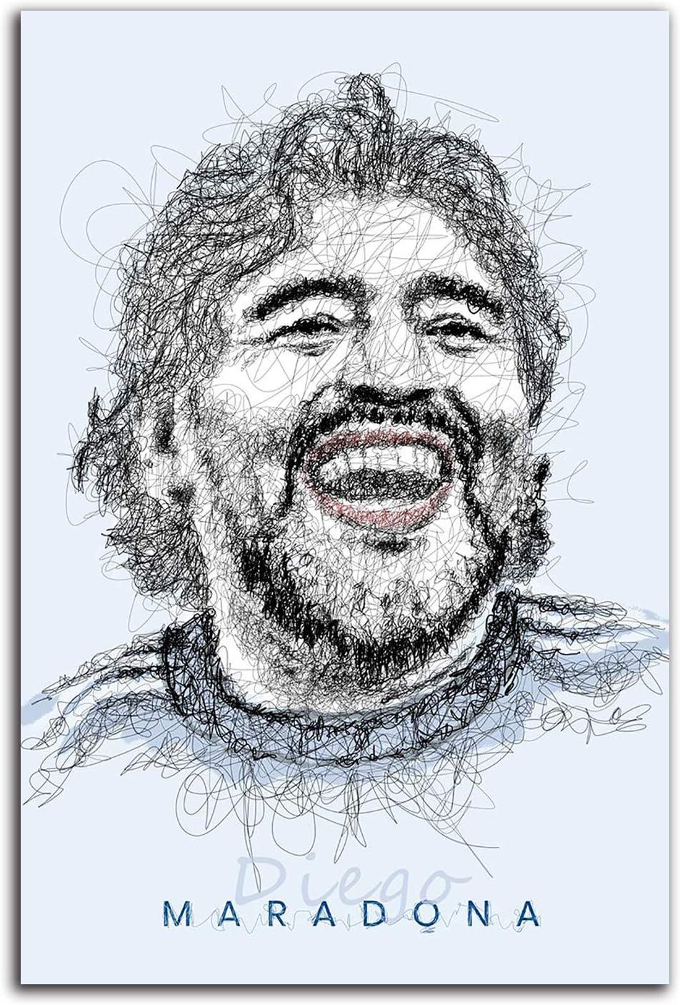 YITUOMO Diego Maradona - Cuadro decorativo para pared (30,5 x 45,7 cm), diseño de jugador de fútbol argentino