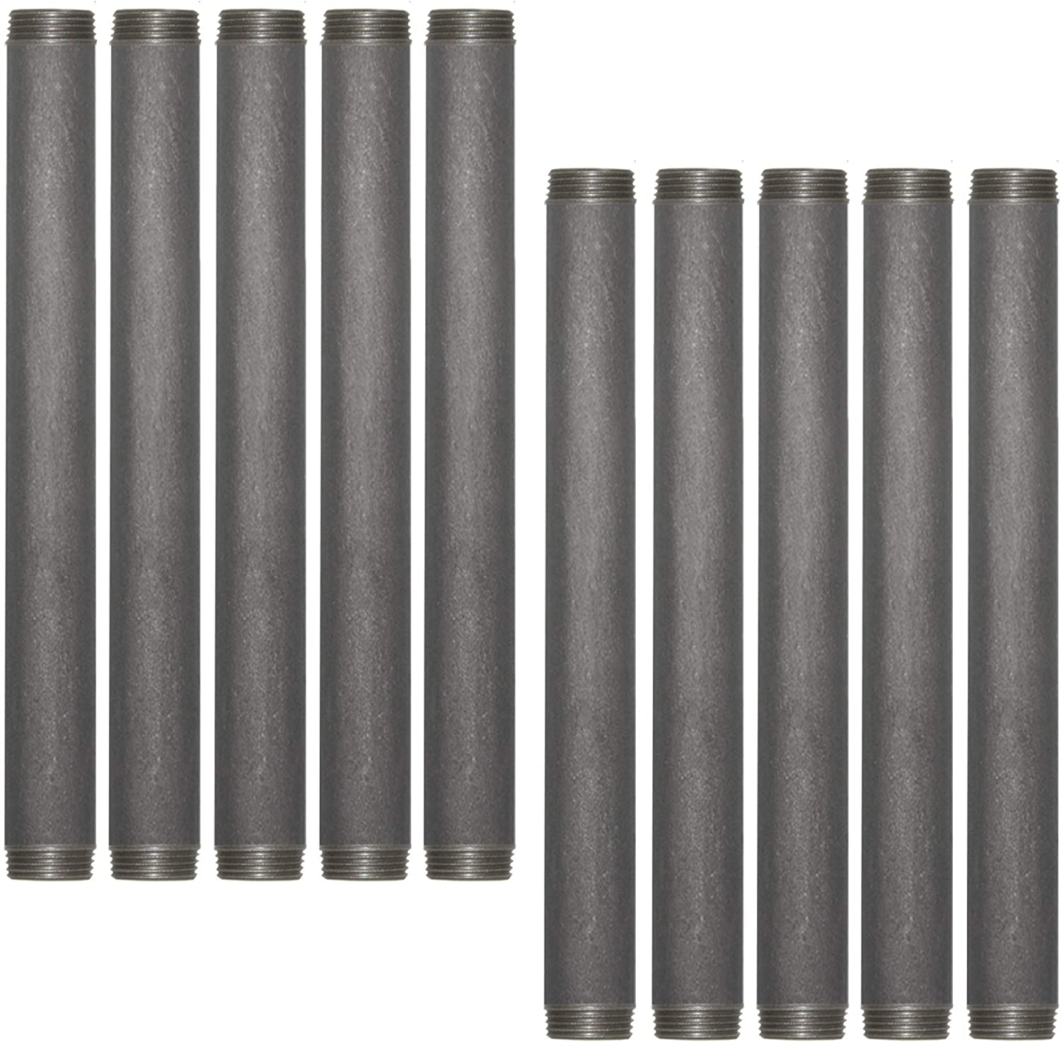 Brooklyn Pipe Sandblast Finish | 3/4 x 12 Inch Heavy Duty Schedule 40 Industrial Pipe | Threaded Pipe Nipple for DIY Shelving and Furniture, 10 Pack