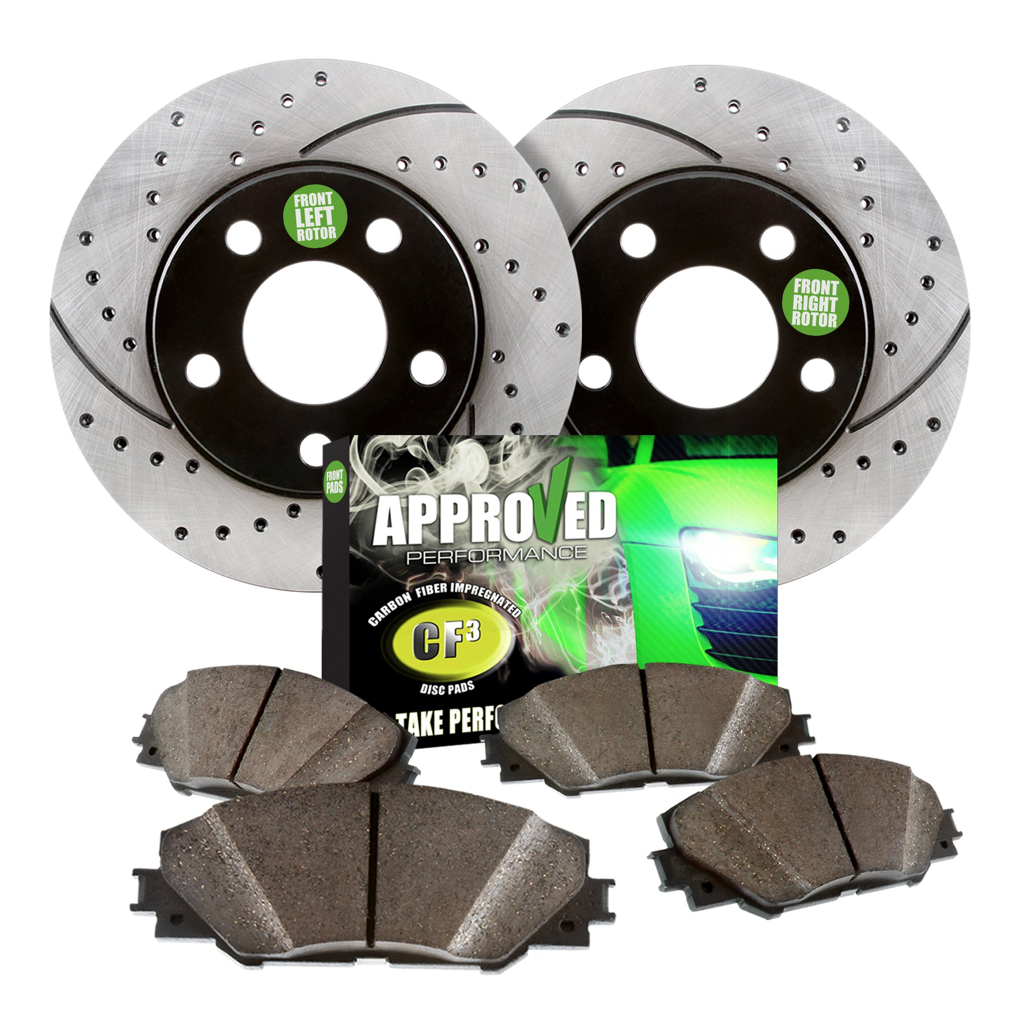 (4WD Models Only) Approved Performance F14322 - [Front Kit] Performance Drilled/Slotted Brake Rotors and Carbon Fiber Pads fits 00 01 02 03 04 F250/F350