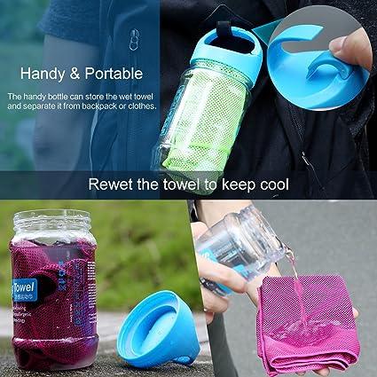 2 en 1 botella con asa deportes gimnasio toalla de enfriamiento absorber en seco Run sudor