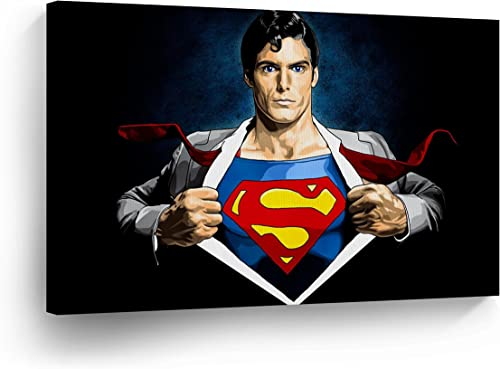 Buy4Wall Clark Kent Transformation to Superman Wall Art Canvas Print Old School Comic Cartoon Super Hero Home Decor Decoration Stretched and Ready to Hang