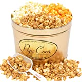 Gourmet Popcorn Tin-2 LARGE GALLONS-3 FLAVORS-THE PERFECT GIFT FOR THE HOLIDAYS !! FREE SCOOPER