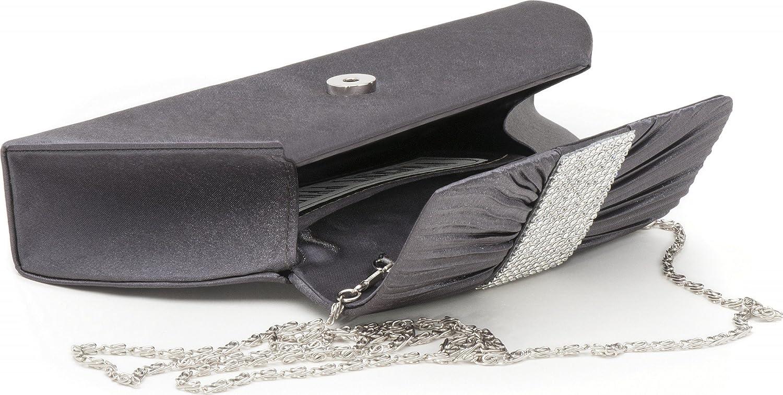 Farbe:Dunkelgrau Umh/ängetaschen B x H x T 25,5x11,5x5 cm mit Abnehmbarer Kette 120 cm Abendtaschen Unterarmtaschen aus Satin mit modischer Raffung und Strasssteinen Clutch VINCENT PEREZ