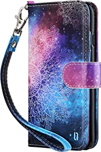 ULAK iPhone 8 Wallet, iPhone SE Wallet 2020, iPhone 7 Flip Wallet Case, PU Leather Wallet Kickstand Card Holder Shockproof Protective Cover for iPhone 7/8/Phone SE 2nd Generation 4.7 inch, Mandala