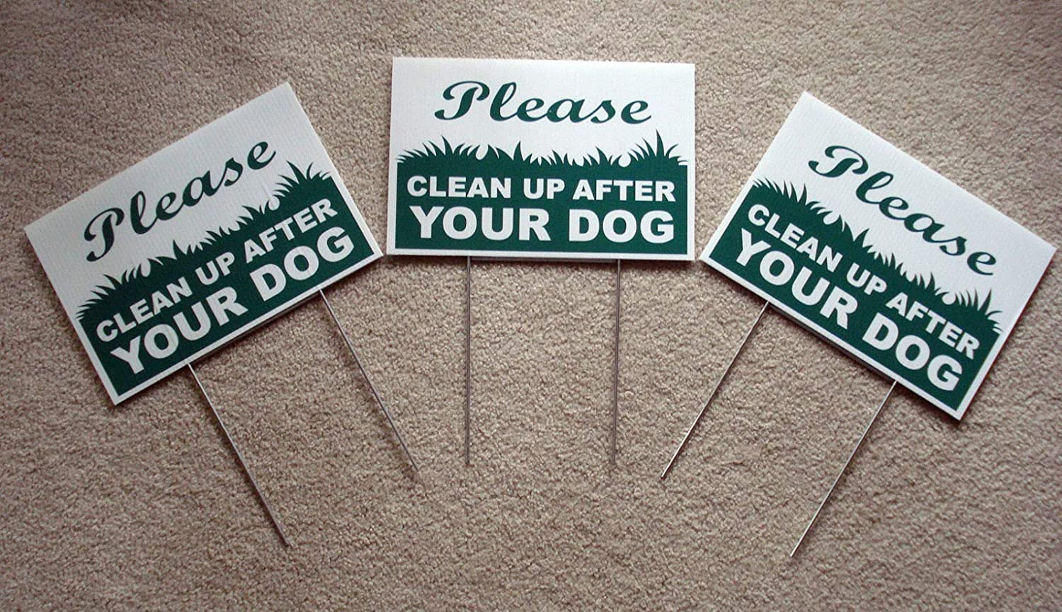 Peter Select 3 Please Clean UP After Your Dog 8''X12'' Plastic Coroplast Signs with Stake New Funny Retro Vintage Business Nostalgic Signs