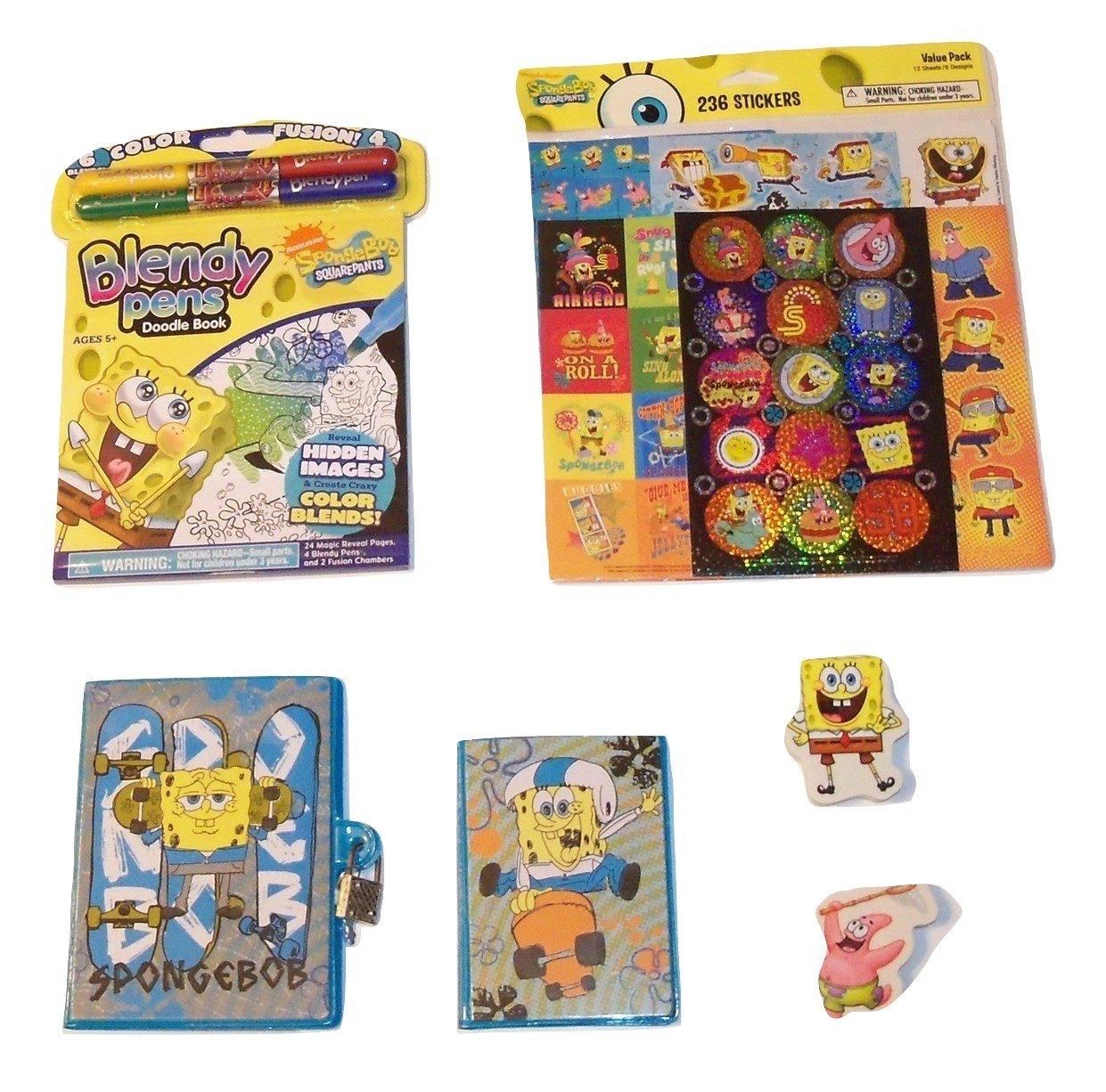 スポンジボブアクティビティGiftセット~ Bubble Buddies日記( withアドレスBook , Spongebob and Patrick Shaped Erasers、Blendy Pens , 236ステッカー; 4 Items、1バンドル)   B0773TZ72D