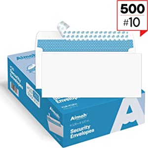 #10 Security Self-Seal Envelopes, Windowless Design, Premium Security Tint Pattern, Ultra Strong Quick-Seal Closure - EnveGuard - Size 4-1/8 x 9-1/2 Inches - White - 24 LB - 500 Count (34010)