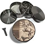 "Not So Pure Girl 4 Piece Herb Grinder Zinc Titanium Metal Grinders 2.5"" Vintage PinUP Sexy Girl Bra Retro Large Diamond Grind - Gift Box"