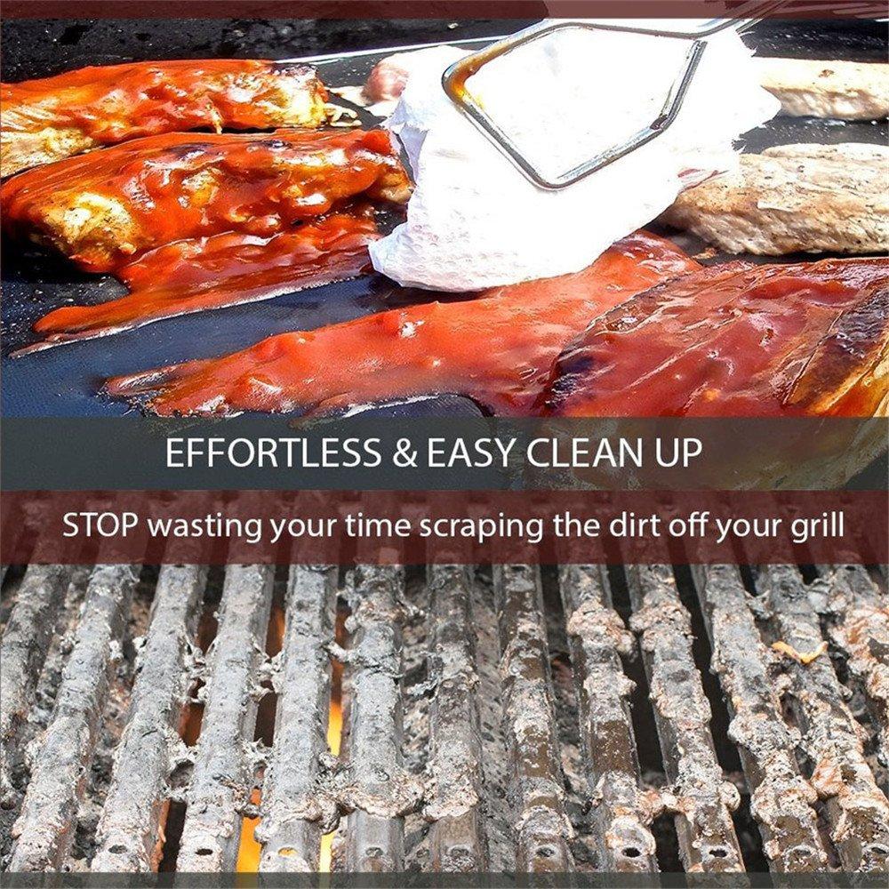 Grill Mat Barbacoa Grill Sábanas Mat BBQ Grill & Baking Mats Reutilizable y Fácil de Trabajos Limpios en el Carbón de Leña, el Carbón, la Parrilla Eléctrica ...