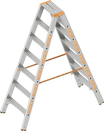 Layher 1043007 Nivel Topic, escalera aluminio escalera 2 x 7 peldaños 80 mm de ancho, ambos lados, plegable, longitud 1.75 m: Amazon.es: Bricolaje y herramientas