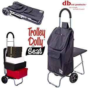 dbest products Trolley Dolly with Seat, Black Shopping Grocery Foldable Cart Tailgate