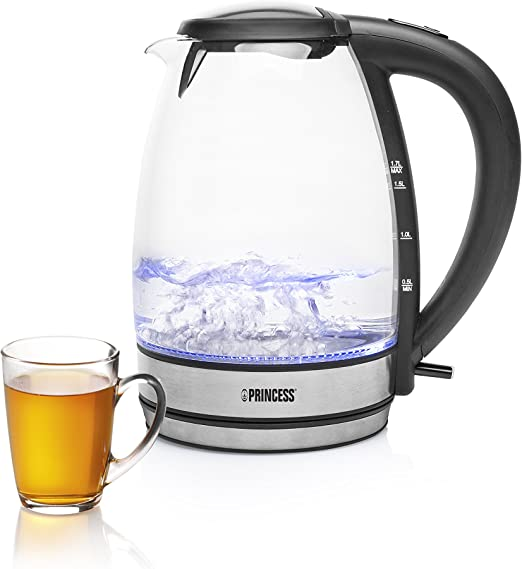 Glas Wasserkocher 1,7 Liter Wasseraufbereiter Glaswasserkocher 2000 Watt LED Innenbeleuchtung Teekocher Wasserkessel Schwarz Kettle /…