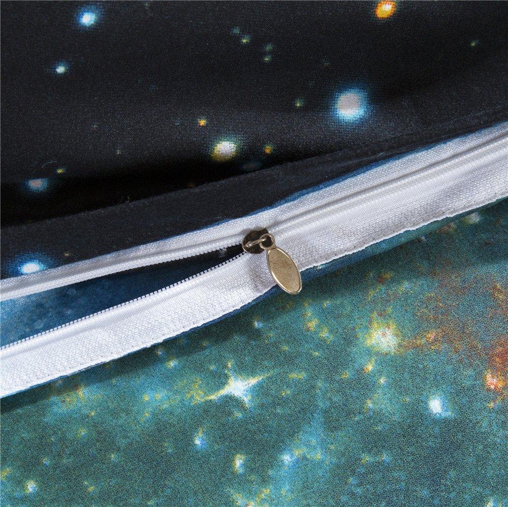in cotone//poliestere con federa per letto singolo e matrimoniale Set copripiumino 3D A1 Kugkiukay Doppio motivo cielo//galassia