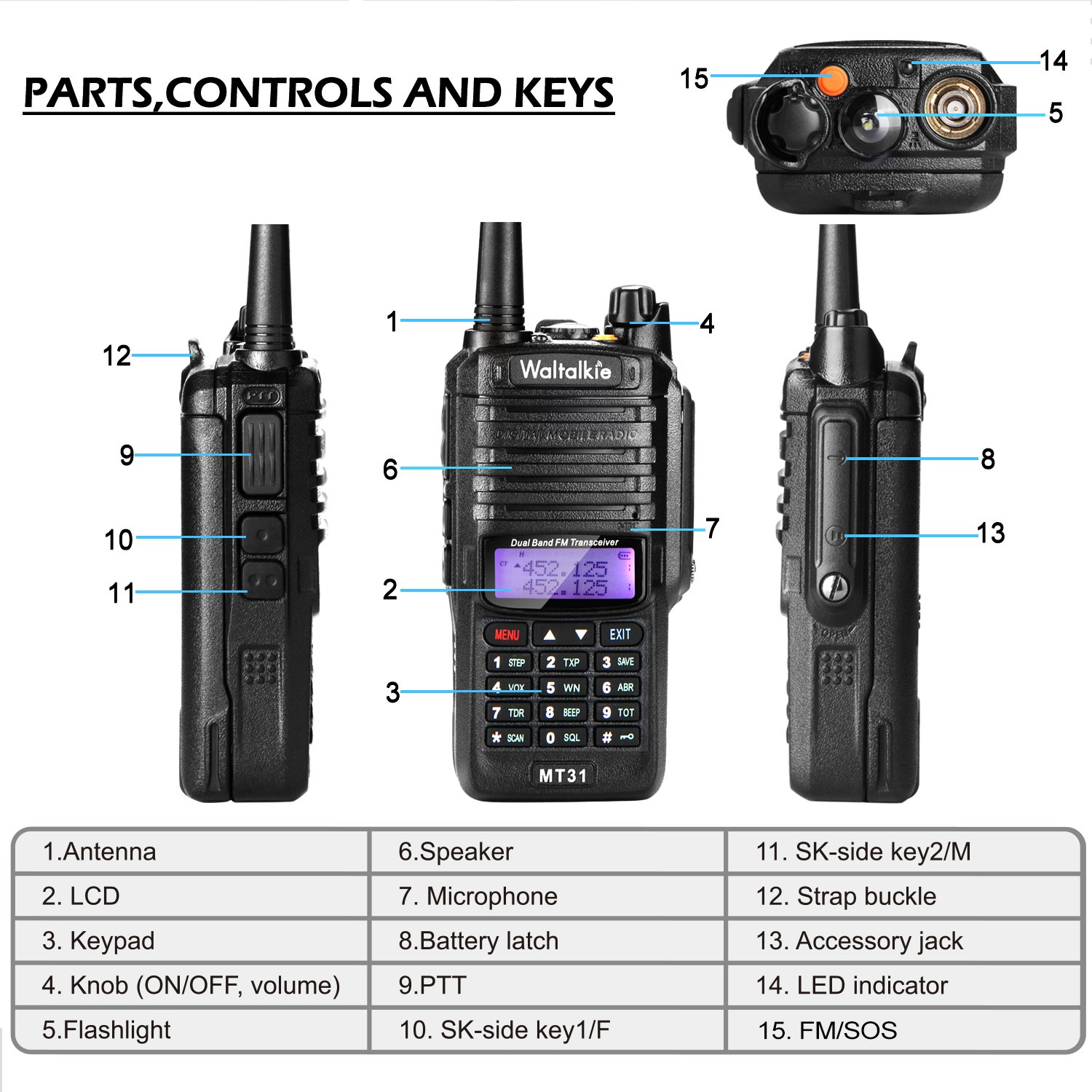 Wireless Radio Transceiver, IP66 Waterproof & Dustproof Two Way Radio Walkie Talkie with Headset/LED Flashlight/Battery/Charger for Indoor & Outdoor Activities by Waltalkie (Image #4)