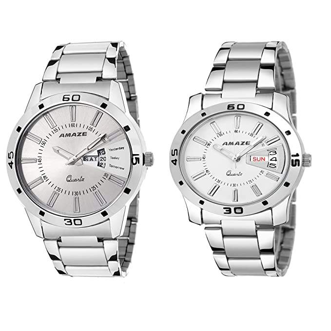 Day & Date Silver Steel Chain Dial Grey Colour Analouge Men & Boys Couple Watch-CT56