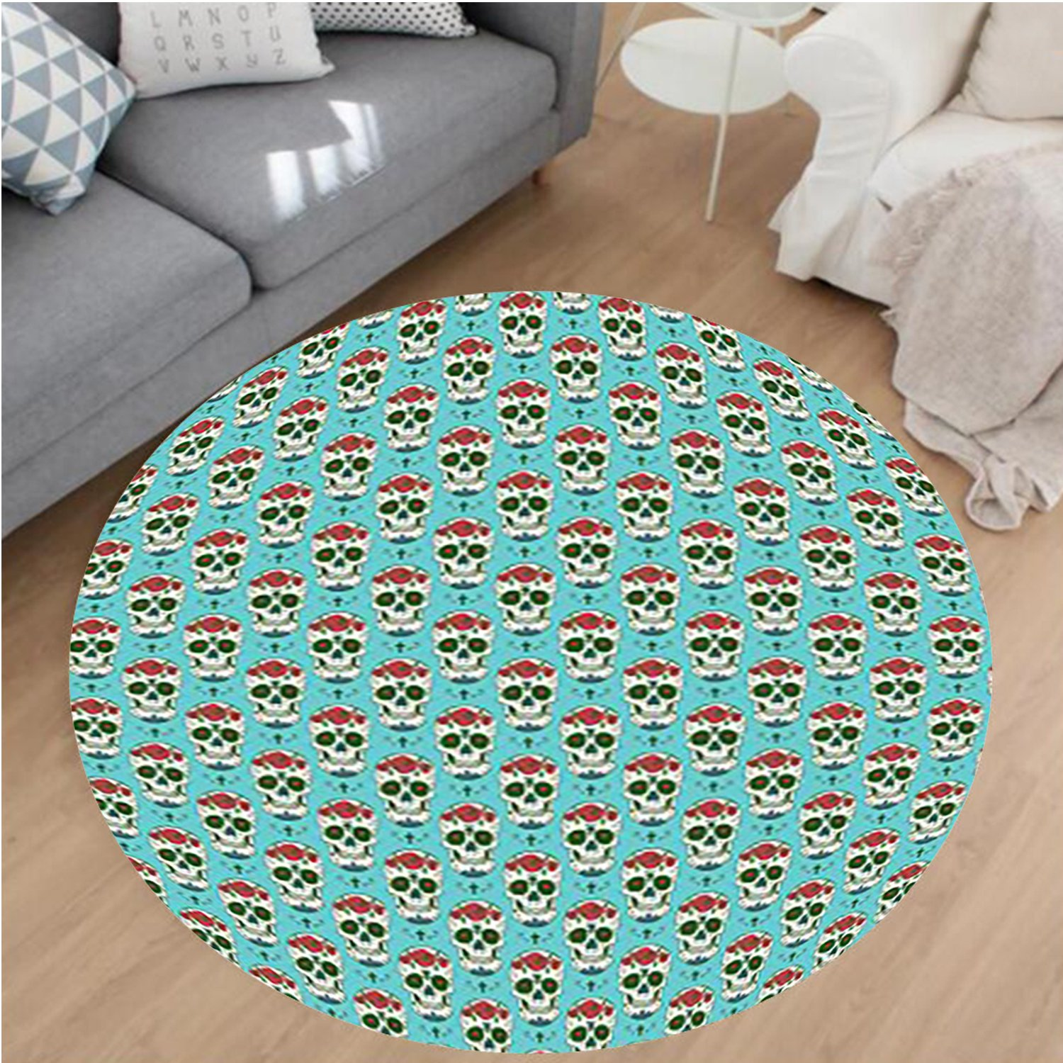 Nalahome Modern Flannel Microfiber Non-Slip Machine Washable Round Area Rug-Skulls Decorations Christian Cross And Roses On Skull Pattern Mexican Vintage Style area rugs Home Decor-Round 79'' by Nalahome