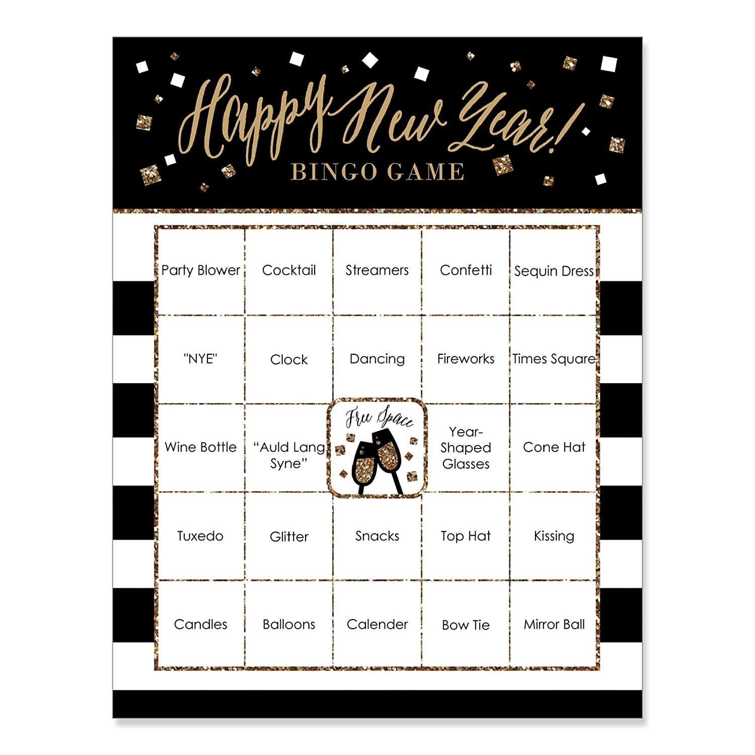 New Year's Eve - Gold - New Years Eve Party Bingo Game & Bar Bingo Game Cards - 16 Count