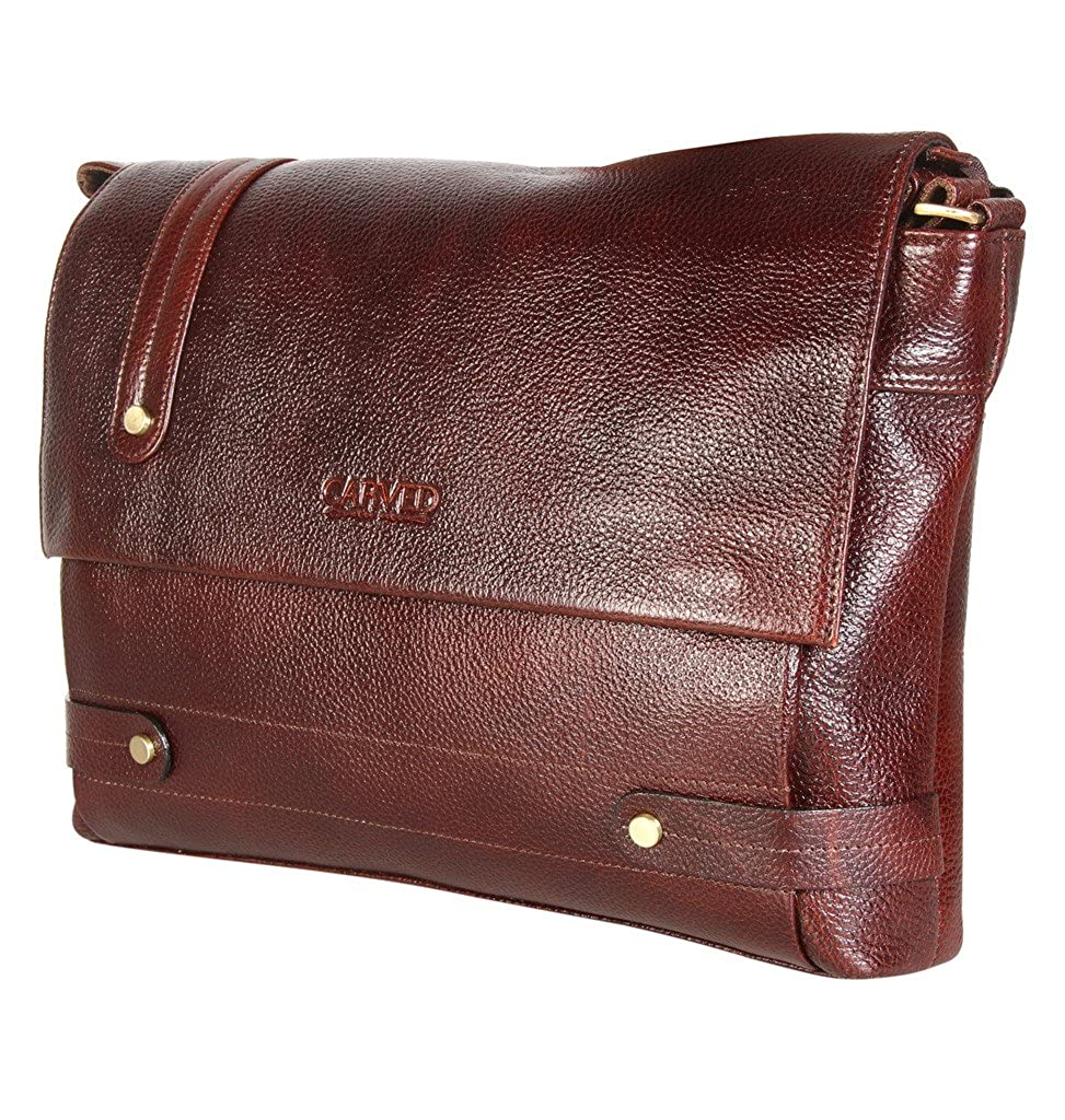 Carved Leather Mens Messenger Bag Brown Crossbody Bag 14 Inches