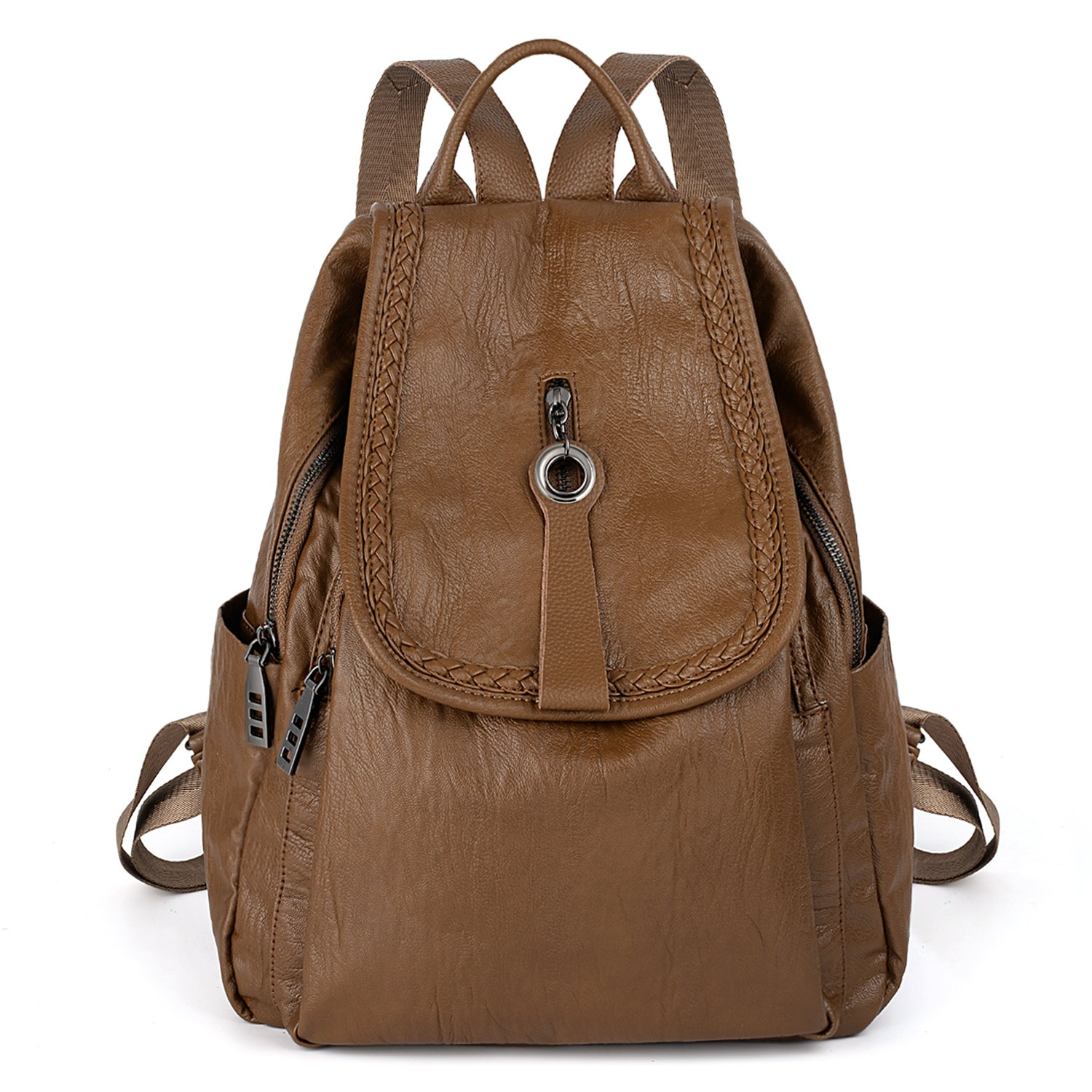UTO Women Backpack Purse PU Washed Leather Zipper Pockets Ladies Flapover Rucksack Shoulder Bag Brown