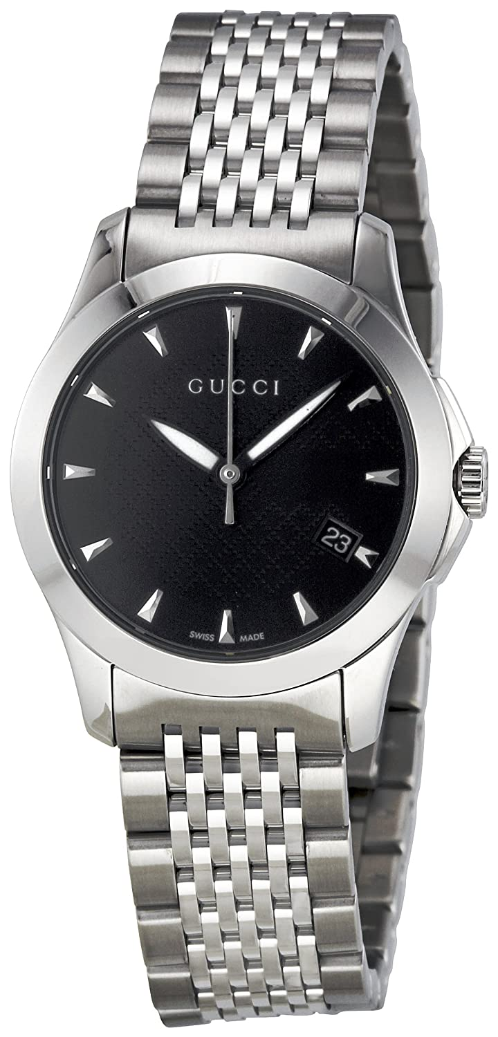 97807f91e05 Amazon.com  GUCCI Women s YA126502 G Timeless Black Dial Watch  Gucci   Watches