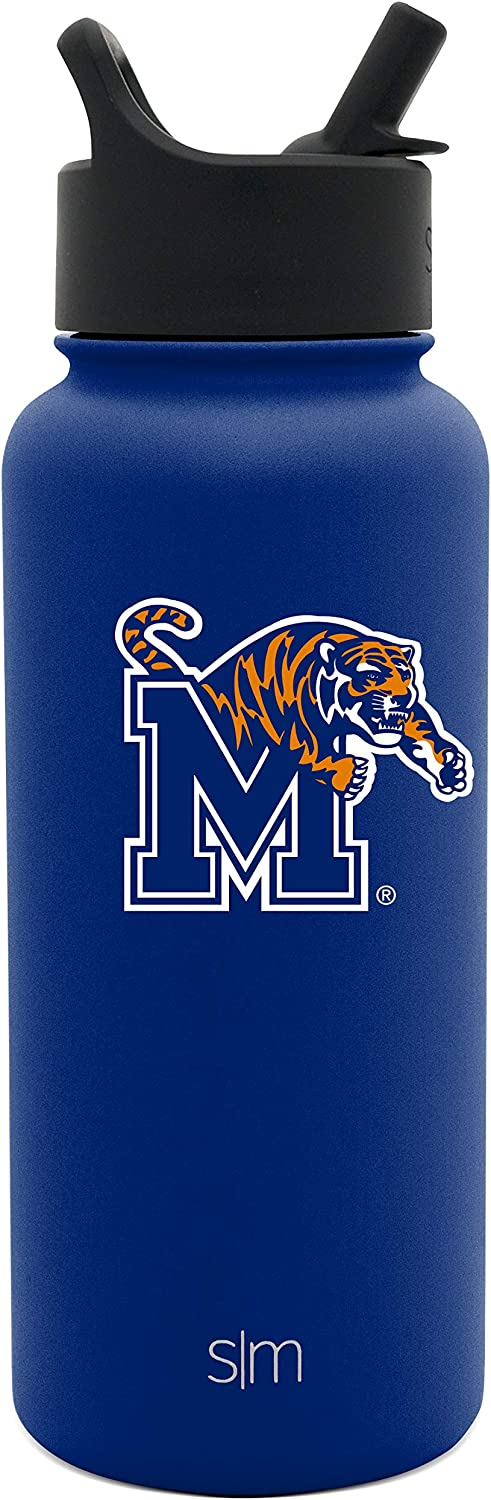 Simple Modern Memphis Tigers 32oz Summit Water Bottle with Straw Lid Mens Womens Gift University NCAA College Vacuum Insulated Stainless Steel Travel Flask